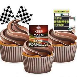 Formula 1 Lewis Hamilton Themed - Edible Stand-up Cup Cake Toppers (pack of 12)
