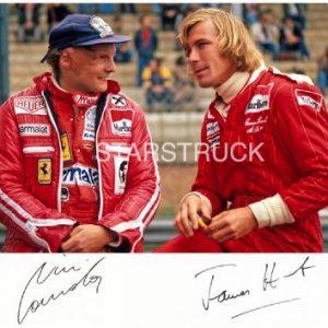 Signed Pre-print James Hunt & Niki Lauda