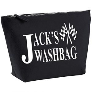 PERSONALISED RACING FORMULA 1 WASH BAG ~ TRAVEL BAG TOILETRY BAG WASHBAG BLACK