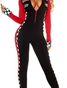 Aimerfeel ladies sexy red and black race car and drag race chequered jumpsuit fancy dress outfit size (8-12)