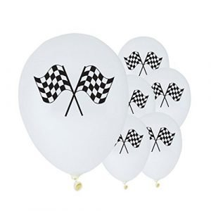 Grand Prix themed Racing Flag Printed Latex Balloon - pk 6