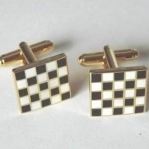 Formula 1 Car Racing Black & White Chequered Flag Grand prix winner Cufflinks
