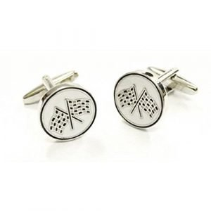 High Quality Grand Prix Chequered Flag Enamelled Cufflinks