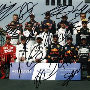 LIMITED EDITION F1 DRIVERS 2017 SIGNED PHOTOGRAPH + CERT PRINTED AUTOGRAPH