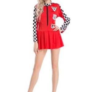 Ladies Formula One Racer Pit Girl Fancy Dress Brolly Dolly Outfit Various Colours (Large, Red)