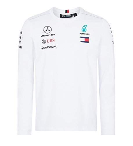 Mercedes Amg F1 Team Driver Puma Long Sleeve T Shirt White Official