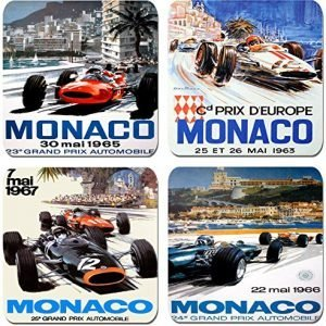 Monaco Grand Prix 1960's Vintage Motor Racing Poster Coasters Set of 4 High Quality Cork