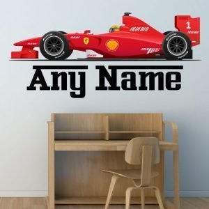 Personalised Formula One Racing Car Wall Sticker Decal - Full Colour Boys Bedroom Nursery (Extra Large - 137cm Wide)