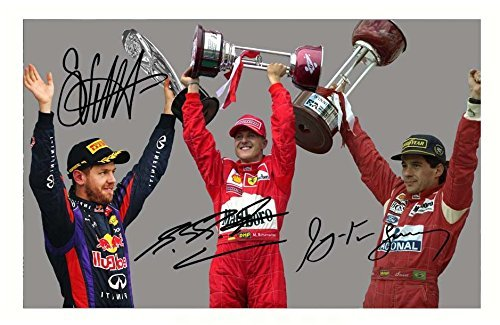 Poster Ayrton Senna Michael Schumacher Sebastian Vettel signed